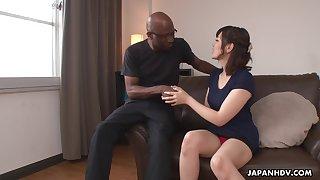 Nerdy bald black stud enjoys cute Japanese unspecific Tomoka Sakurai flashing her cunt