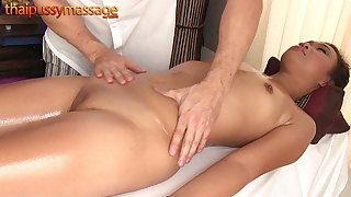 Skinny Thai girl gets a massage and a hard flannel