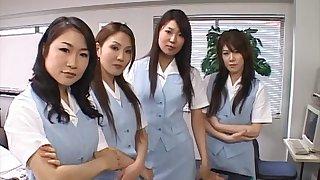 POV video of lot of naughty girls riding one stiff manhood