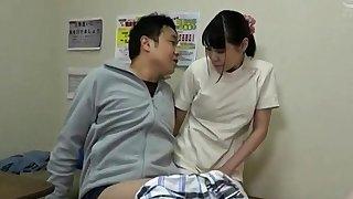Busty asian Gaia gives handjob involving the massage arena
