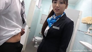 Trimmed pussy Kawasaki Arisa drops on her knees to give head
