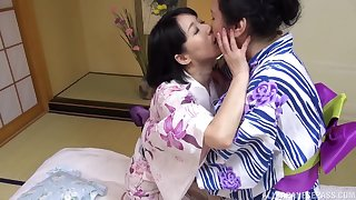 Broad in the beam Japanese mature enjoys getting licked by her best friend