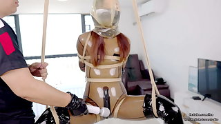 Lovely Asian latex schoolgirl DOVE, rope subjection and quality play
