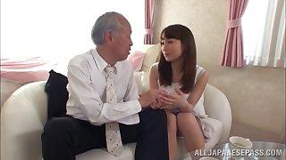 Smooth fucking on hammer away sofa with adorable Japanese Mao Kurata