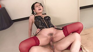 Asian mature rides in plain anal glory
