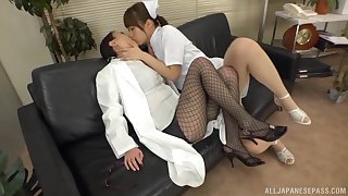 Asian nurse goes full mode with female's drenched pussy