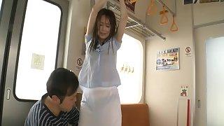 Penetrating round ass Asian Slut Akiho Yoshizawa in public