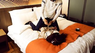 Twintail girl bondage and ball gagged