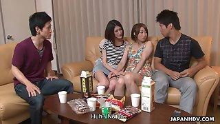 Nasty Asian chick Haruka Sasano takes part in crazy group sex scene