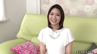 Sex-mad Japanese brunette Mikuni Maisaki has a of the first water time while masturbating