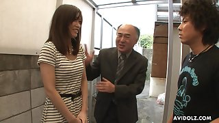 Pretty Japanese girl Saki Aiba allows her step brother to shave soft pussy